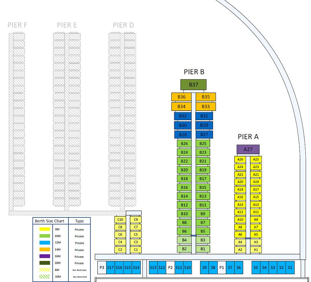 Queenstown Marina - Berth Layout Stage 1 & 2 (shadowed)